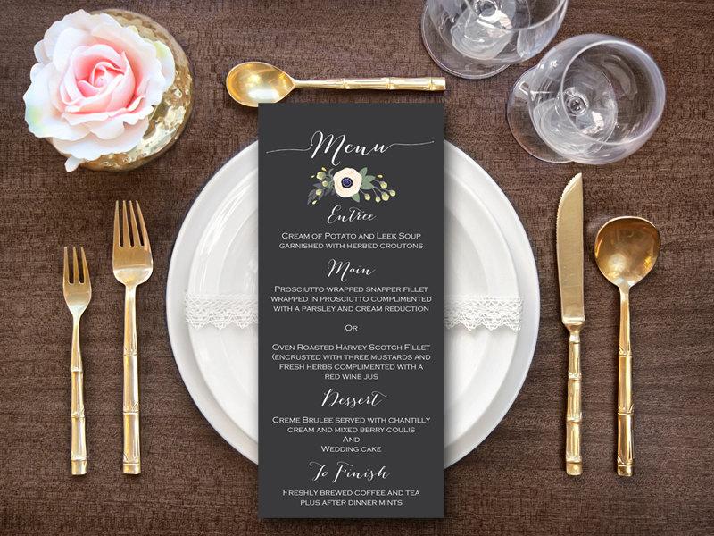 custom elegant floral menu printable bride bows