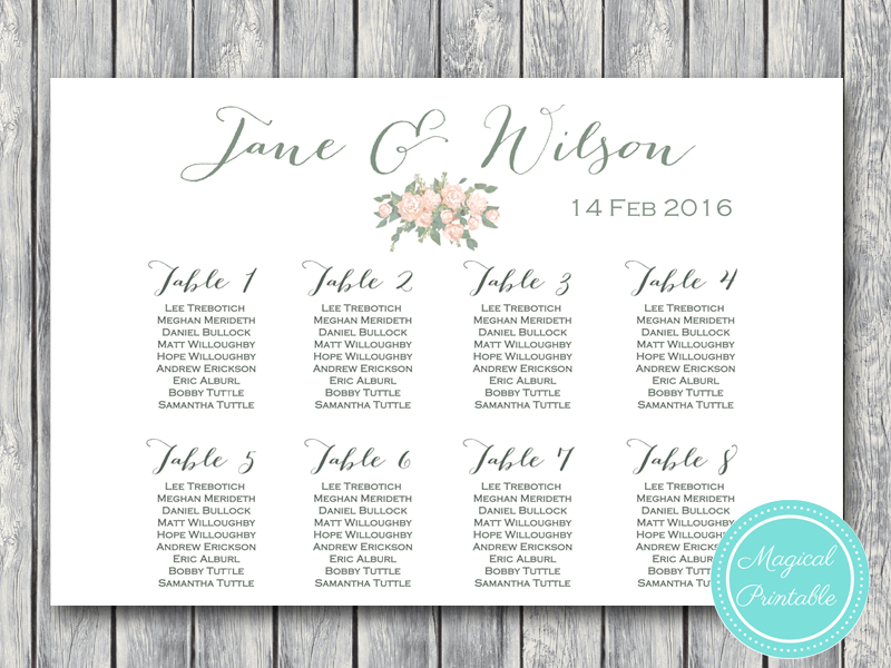 Custom wedding seating chart free wedding seating charts for Bridal shower seating chart template