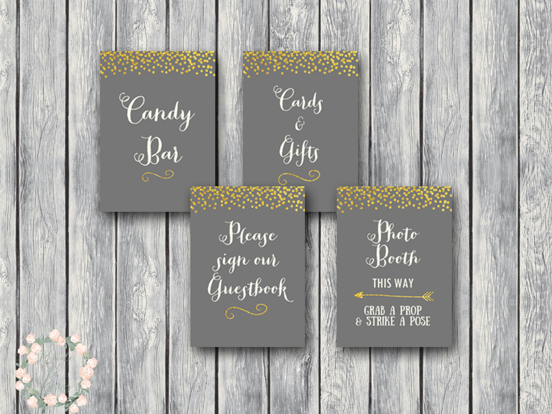 Gold glitter wedding sign decoration engagement party signs gold sparkle glitter gray wedding decoration sign printable junglespirit Image collections