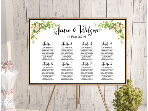 image about Printable Seating Chart known as Customized Peonies Wedding ceremony Seating Chart Printable wd12