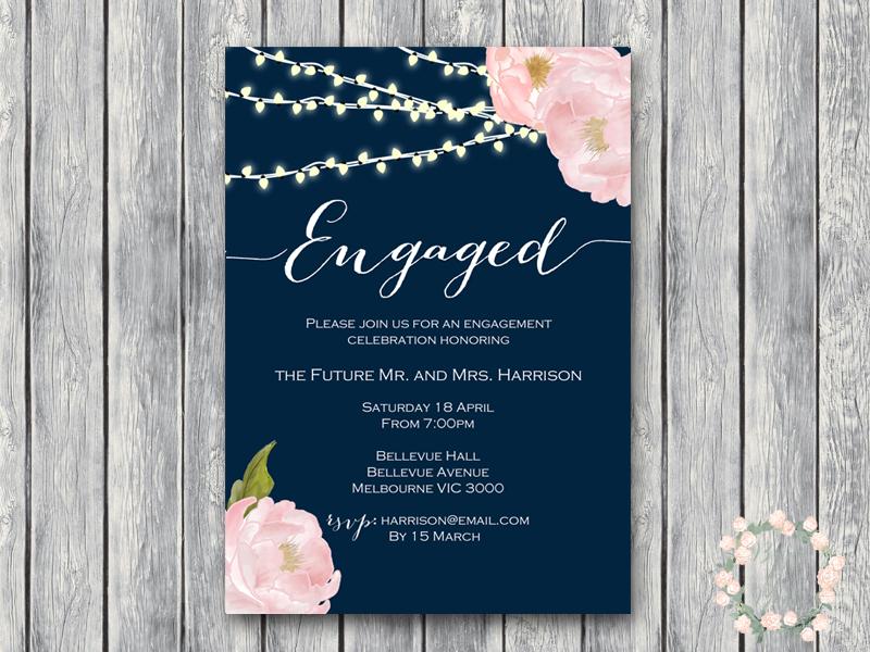 CUSTOM Peonies Night Strings Engagement Invitation WD65B