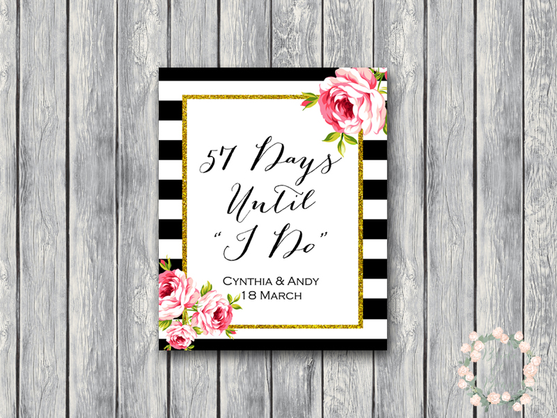 Personalized Days Until Wedding Sign For Wedding Countdown To Wedding Bridal Shower Decor