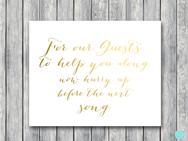 Incroyable Wedding Bathroom Basket Sign Gold Foil Wedding