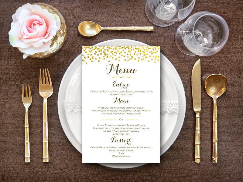 gold wedding menu engagement party menu  bride  bows