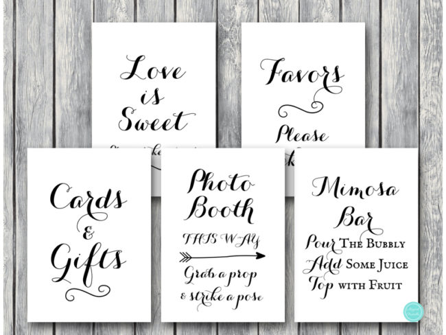 image regarding Printable Signs identify Obtain Wedding ceremony Decoration Symptoms TG08