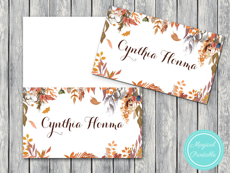 Custom Fall Autumn Wedding Engagement Name Label Cards