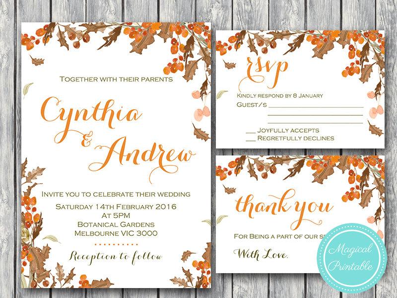 Fall Autumn Wedding Invitation Set, RSVP, Thank You, Engagement Invite