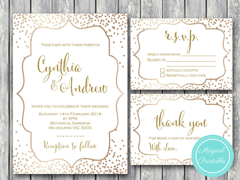Gold Confetti Wedding Invitation, RSVP, Thank you, Engagement Invite
