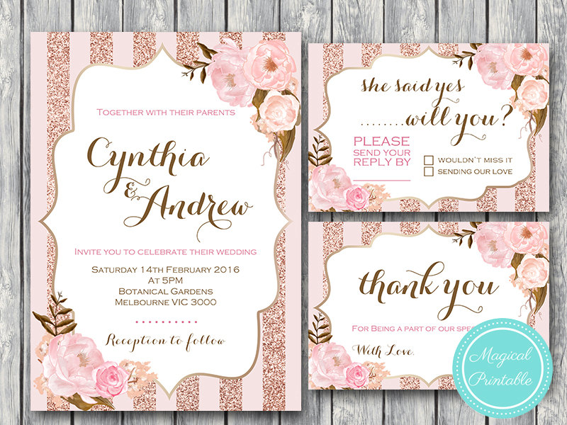 Rose Gold Wedding Invitation Rsvp Thank You Engagement Party Invite