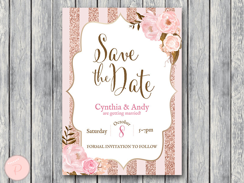 Rose Gold Floral Wedding Invitation Bridal Shower Invitation - Bride & Bow