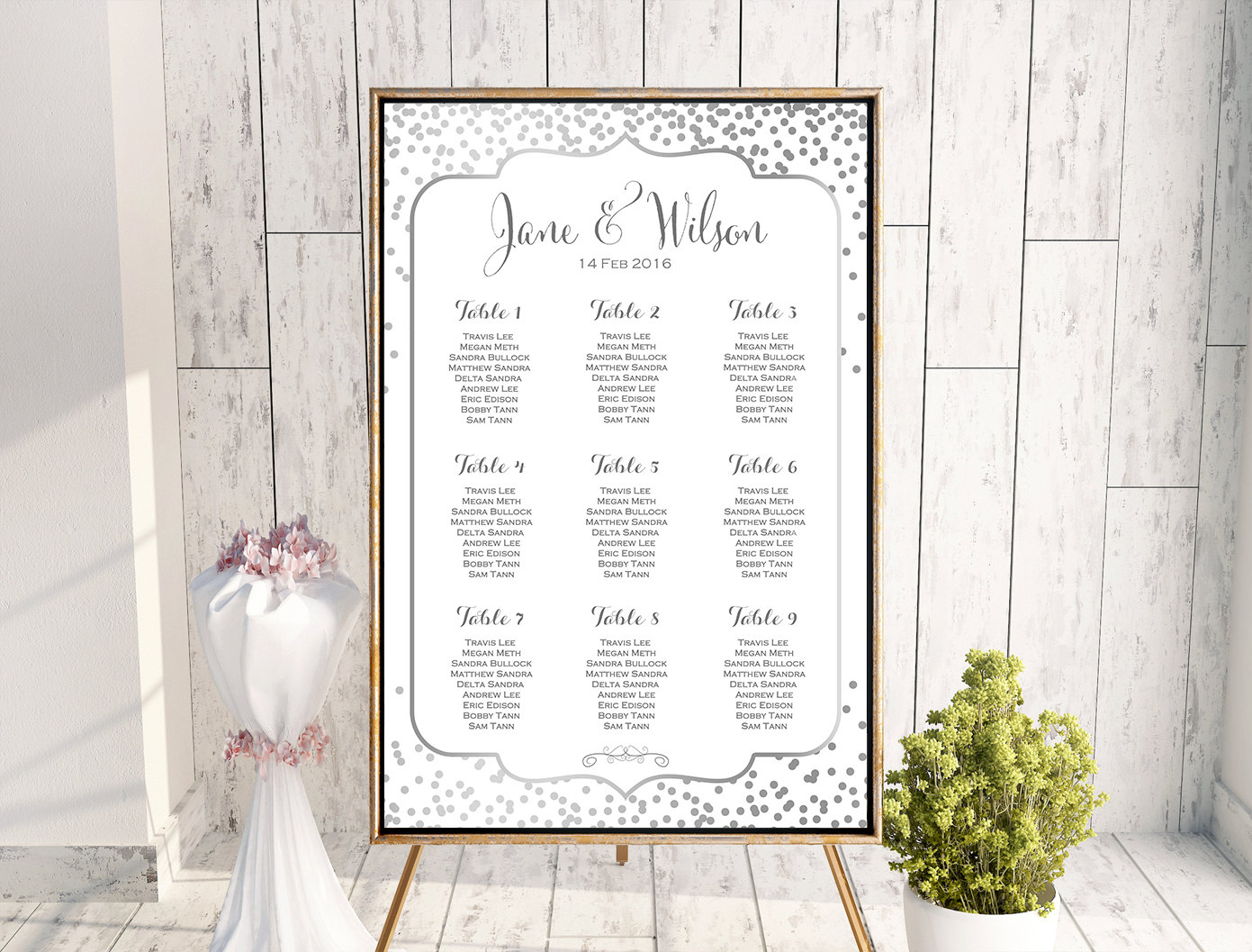 custom silver confetti find your seat chart printable wedding seating chart