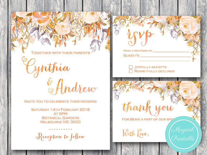 photograph regarding Printable Wedding Card named Customized Sunset Floral Marriage ceremony Invitation RSVP Owing Card