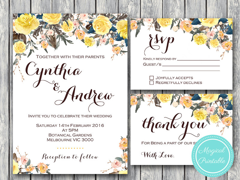picture relating to Wedding Cards Printable titled Personalized Yellow Rose Marriage ceremony Invitation RSVP Due Card