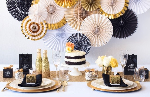 Glam Gold and Black Wedding Decoration Ideas - Bride + Bows