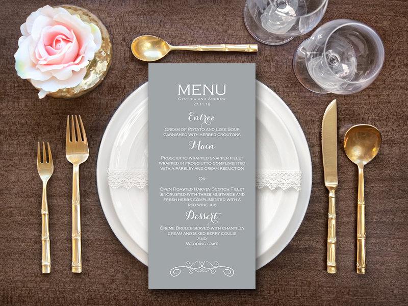elegant modern grey wedding menu bridal shower menu bride bows