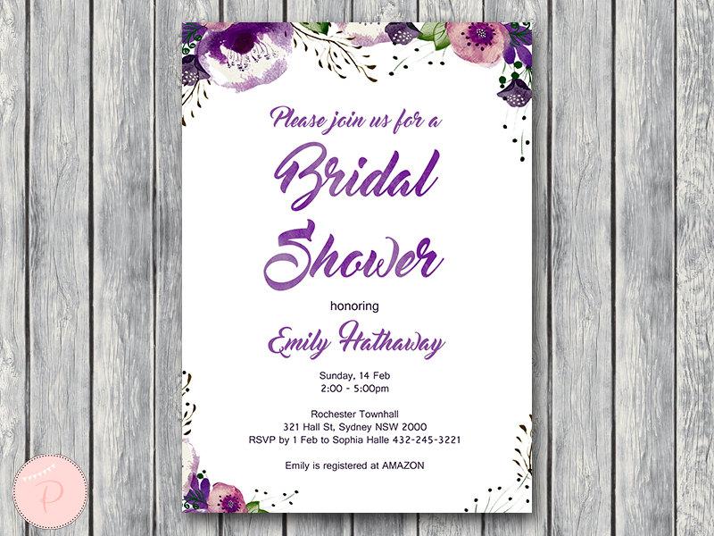personalized purple floral wedding invitations bridal shower invitation