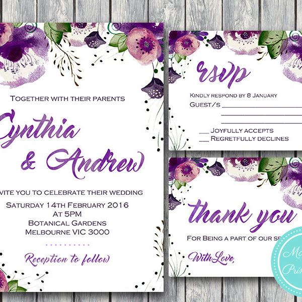 Purple Pink Flowers Personalized Wedding Thank You Cards