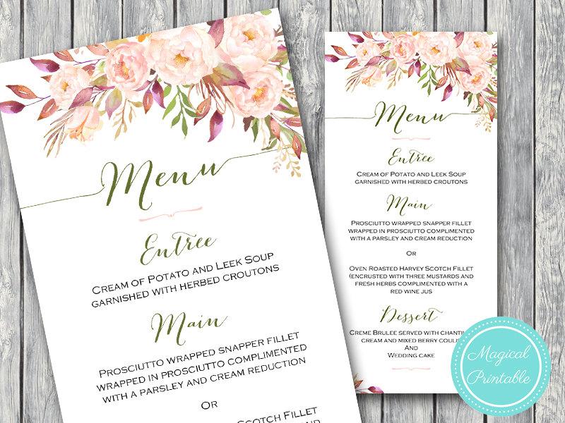photo about Printable Wedding Menus identify Customized Wild Crimson Floral Marriage Menu Printable