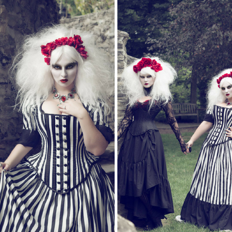 Tim Burton Wedding Gown - Black White Stripe Victorian Steampunk