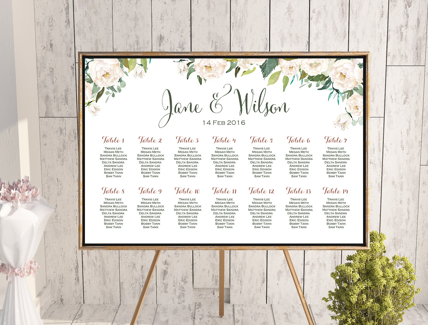 Ivory White Floral Wedding Seating Chart Free Wedding Seating Charts