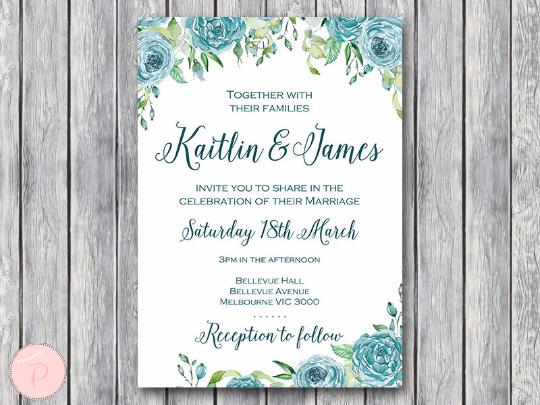 Teal Invitations Wedding: Teal Floral Elegant Wedding Invitations, Wedding