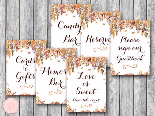 Autumn Fall Bridal Shower Table Signs Package