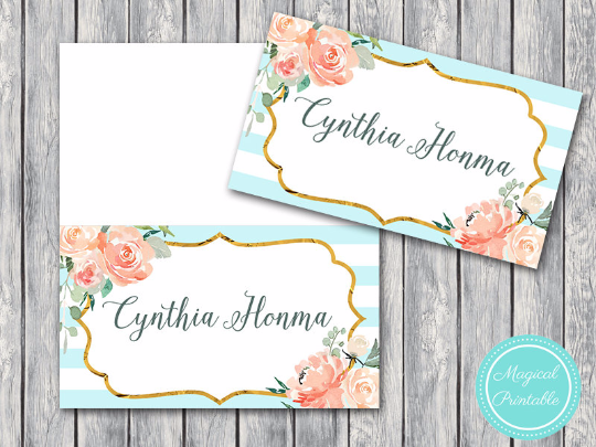 Custom Mint And Gold Wedding Tent Name Cards Th73