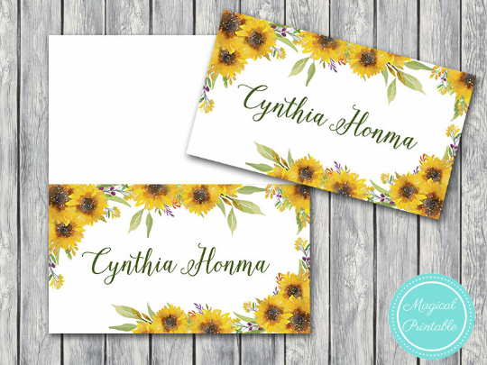 image about Printable Name Tages called Customized Summer time Sunflower Wedding day Tent Status Label Playing cards TH80