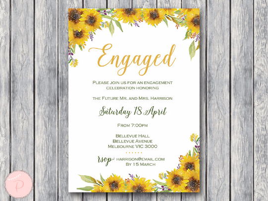 photograph about Sunflower Printable called Customized Sunflower Printable Engagement Social gathering Invitation TH80