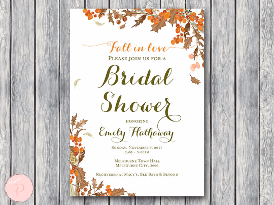 Fall In Love Invitation Autumn Leaves Wedding