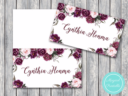 This is a picture of Printable Wedding Place Cards for blank