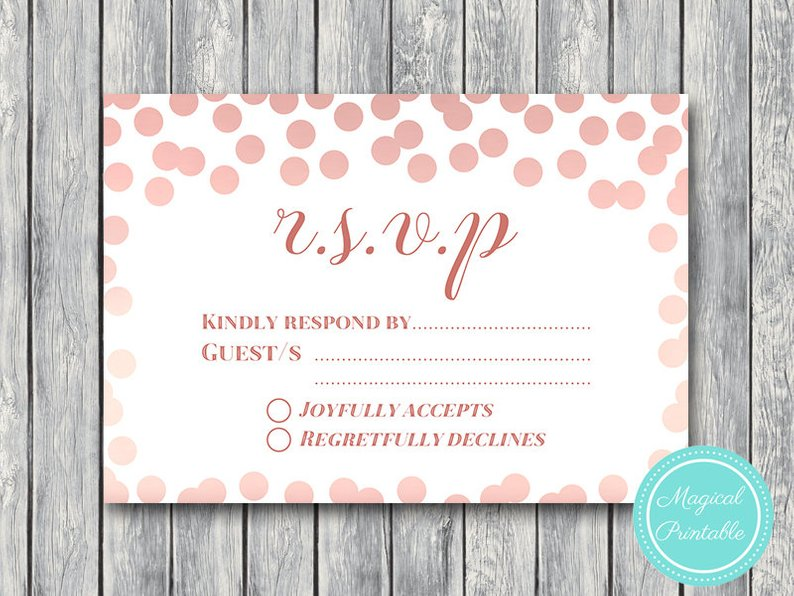picture about Printable Rsvp Card named Rose Gold Confetti Marriage ceremony RSVP Playing cards