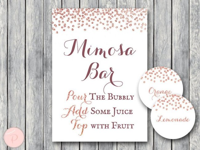photograph relating to Mimosa Bar Sign Printable Free known as Rose Gold Mimosa Bar Indicator with juice tags