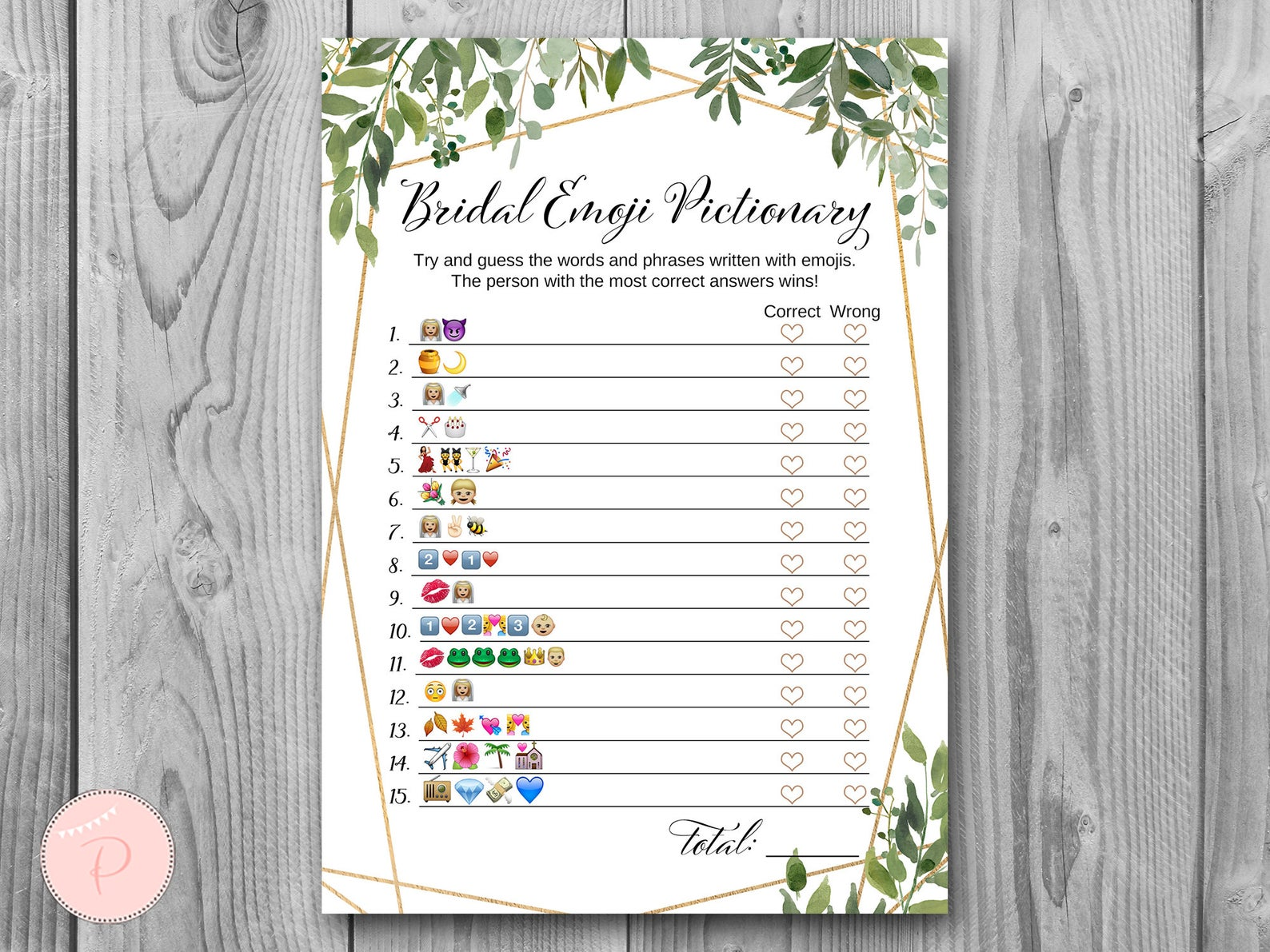 photo relating to Bridal Shower Games Printable called Down load Greenery Bridal Emoji Bridal Shower Video game