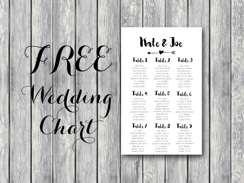 Free arrow wedding seating chart template bride bows for Bridal shower seating chart template