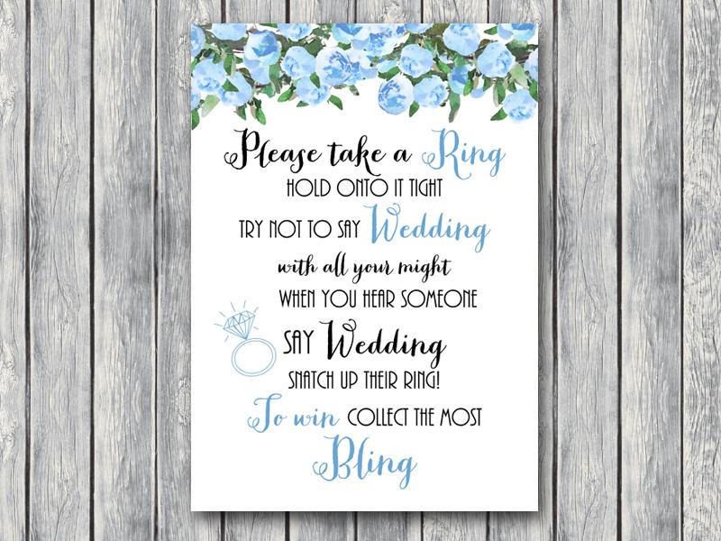 Blue wedding shower games bride bows th17 5x7 dont say wedding blue wedding shower filmwisefo Gallery