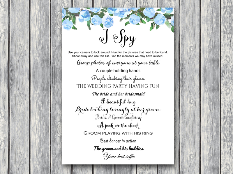 Th17 5x7 Wedding Scavenger Hunt Blue