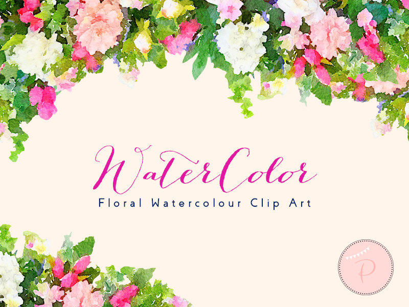 Pink And White Watercolor Floral Cliparts on Navy Border Clip Art