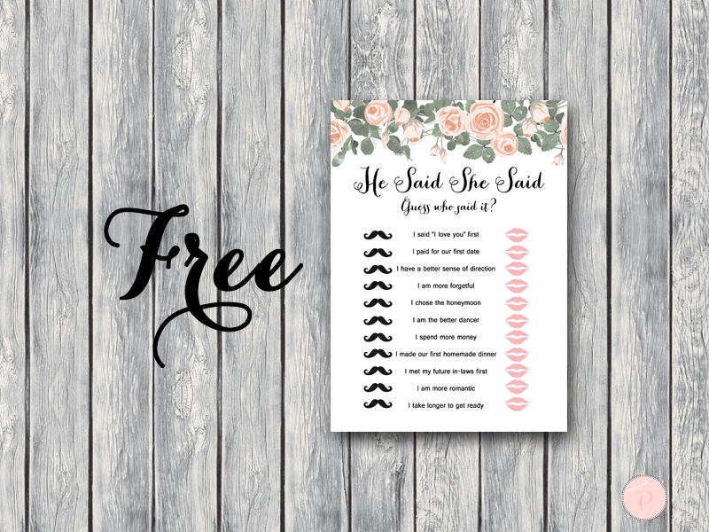 Free elegant floral he said she said game bride bows for He said she said bridal shower game template