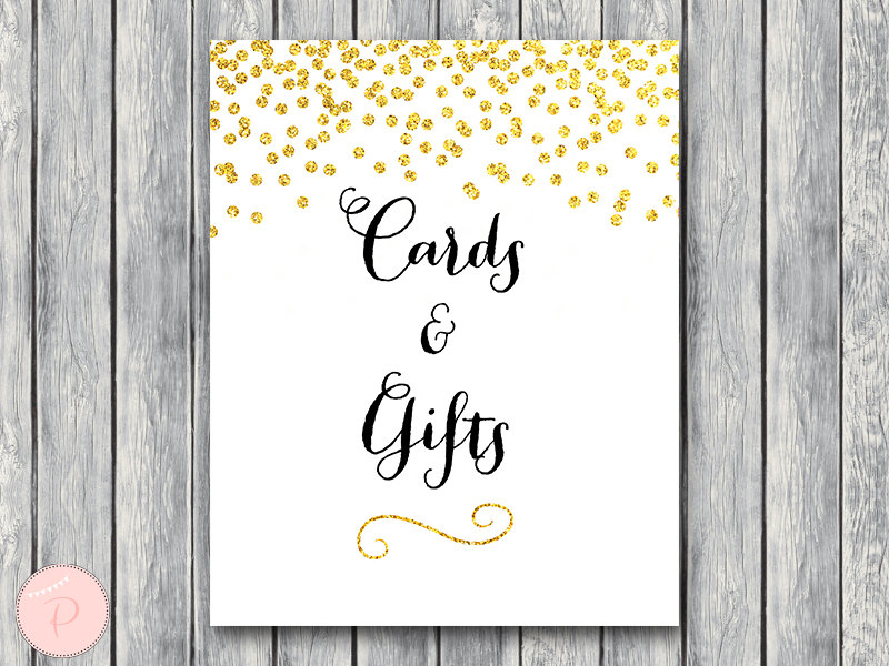 No Thank You For Wedding Gift: Gold Confetti Wedding Sign Decoration