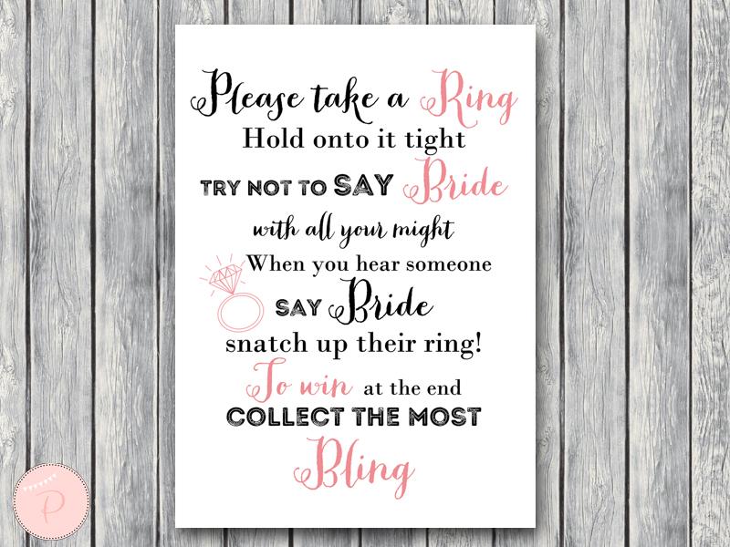 Wedding Shower Game Printable Bridal Shower Game