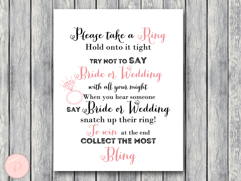 photograph regarding Put a Ring on It Bridal Shower Game Free Printable named Down load White Record Bridal Shower