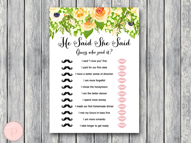Floral wedding shower game printable bridal shower game for Bridal shower games that aren t cheesy