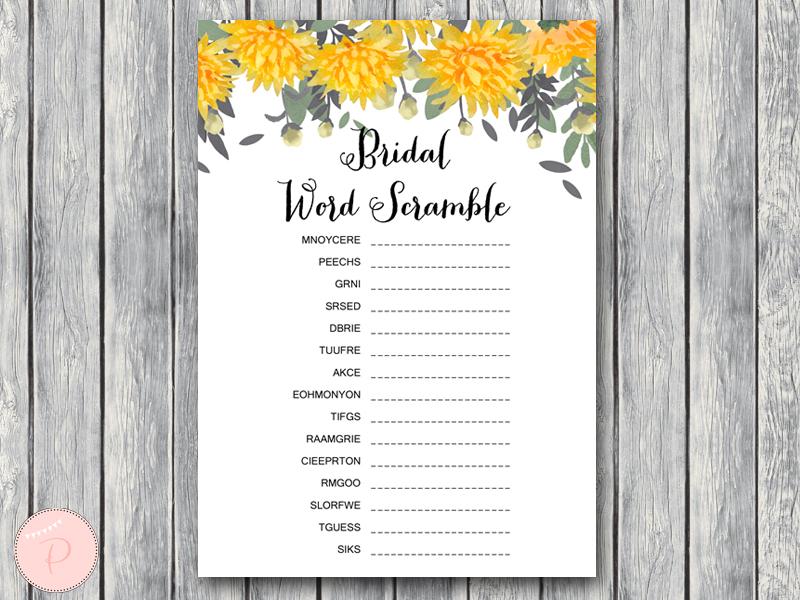 th18 5x7 scramble yellow dandelion wedding bridal shower