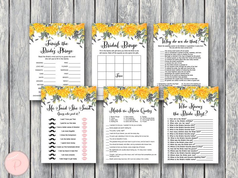 dandelion wedding shower games bridal shower games yellow