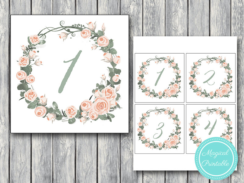 picture about Printable Table Number named Obtain Red Floral Wedding ceremony Desk Quantities
