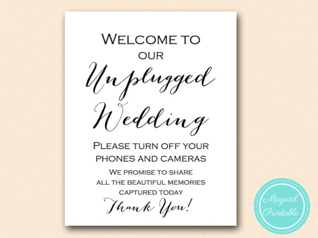 Wedding Signs Unplugged Ceremony Sign Bride Bows