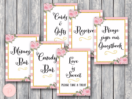 Gold Pink Peonie Bridal Shower Table Signs Package