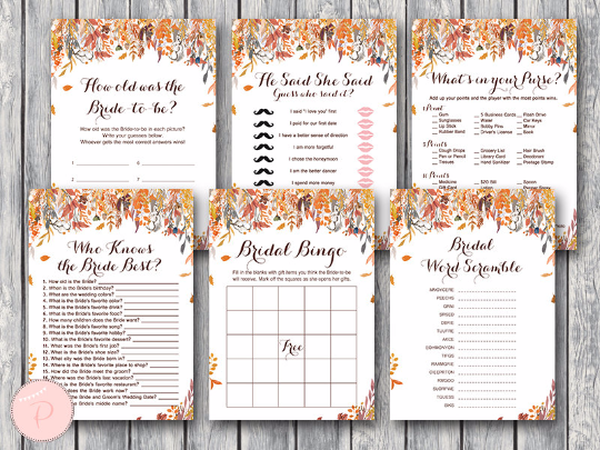 autumn fall bridal shower games package