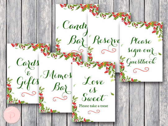 Christmas themed wedding table signs christmas bridal shower table signs package filmwisefo
